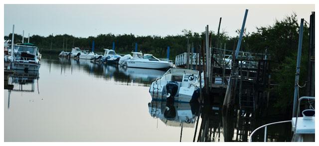 Le port d'Audenge à la tombée de la nuit...